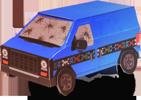 Papercraft imprimible y armable de la furgoneta de Payday 2. Manualidades a Raudales.